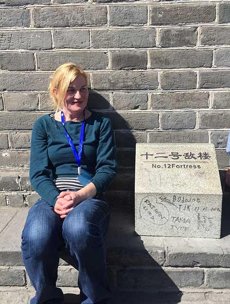 sitting at fortress 12 Great Wall of China